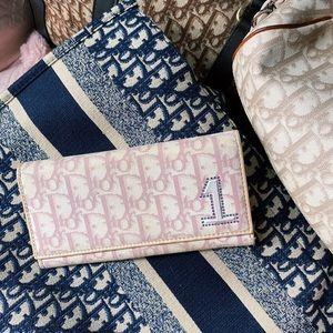 Dior 🌸 Vintage Pink Trotter Oblique Long Wallet